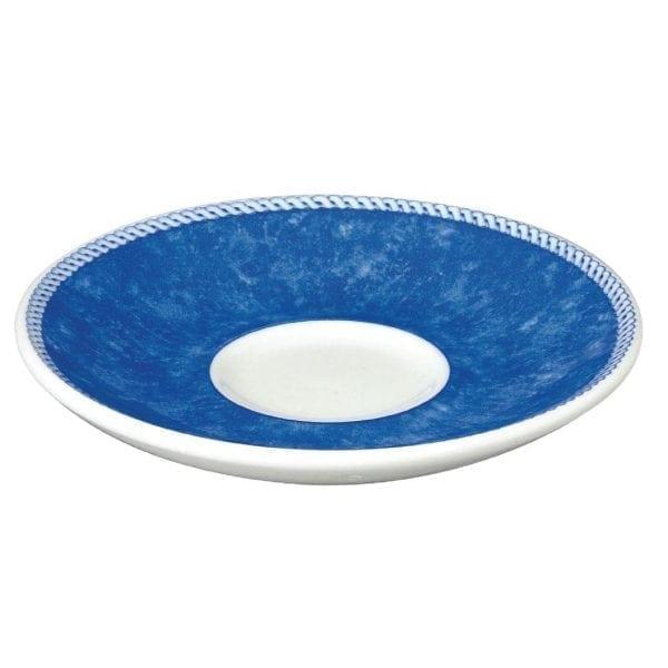 """New Horizons Coloured Border Blue Espresso Saucer 4.5"""" (Box 24) (Direct)-0"""