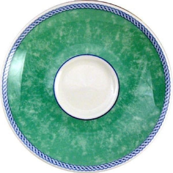 "New Horizons Coloured Border Green Espresso Saucer 4.5"" (Box 24) (Direct)-0"