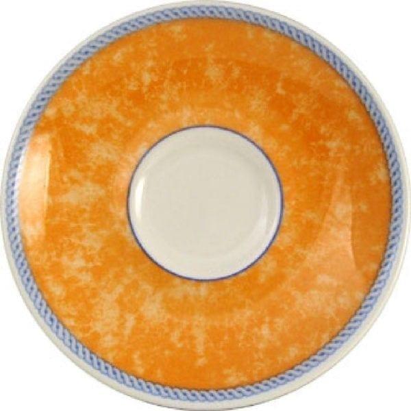 "New Horizons Coloured Border Orange Espresso Saucer 4.5"" (Box 24) (Direct)-0"