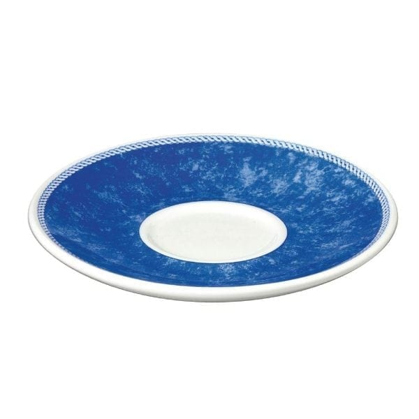 "New Horizons Coloured Border Blue Cappuccino Saucer 6.5"" (Box 24) (Direct)-0"