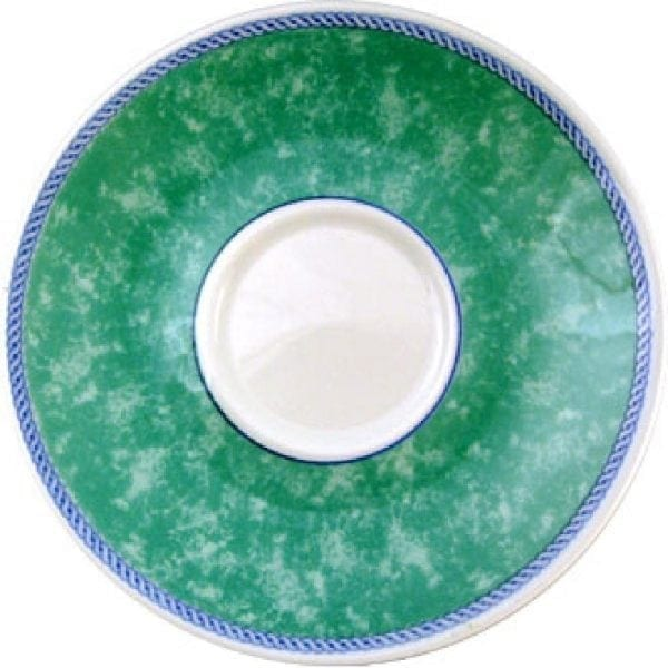 "New Horizons Coloured Border Green Cappuccino Saucer - 6.5"" (Box 24) (Direct)-0"