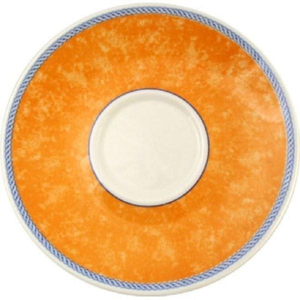"New Horizons Coloured Border Orange Cappuccino Saucer - 6.5"" (Box 24) (Direct)-0"
