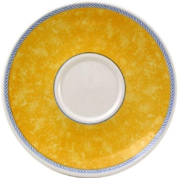 "New Horizons Coloured Border Yellow Cappuccino Saucer 6.5"" (Box 24) Direct-0"