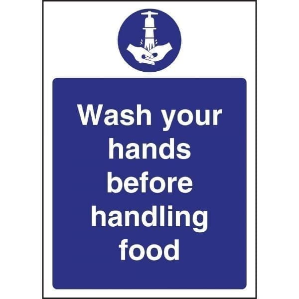 Wash Hands Before Handling Food Sign (Self-Adhesive)-0