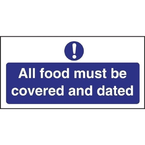 All Food Covered & Dated Sign - 100x200mm (Self-Adhesive)-0