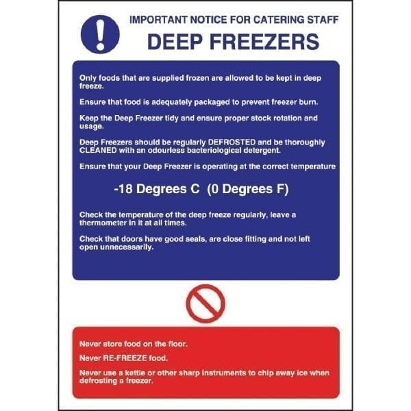 Deep Freezer Guidelines Sign - 300x200mm (Self Adhesive)-0