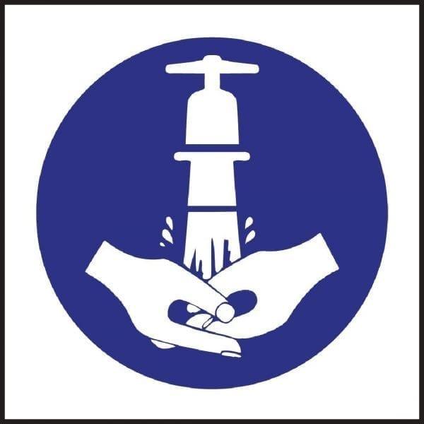 Wash Hands Symbol Sign (Self-Adhesive)-0