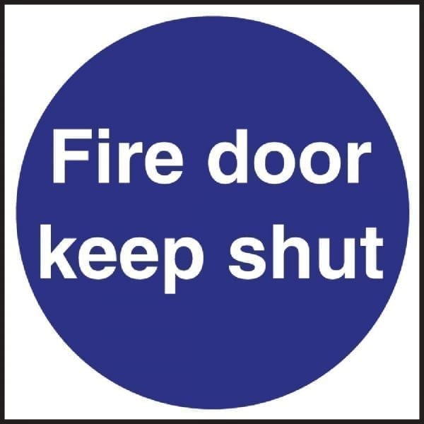 Fire Door Keep Shut - 100x100mm (Self-Adhesive)-0