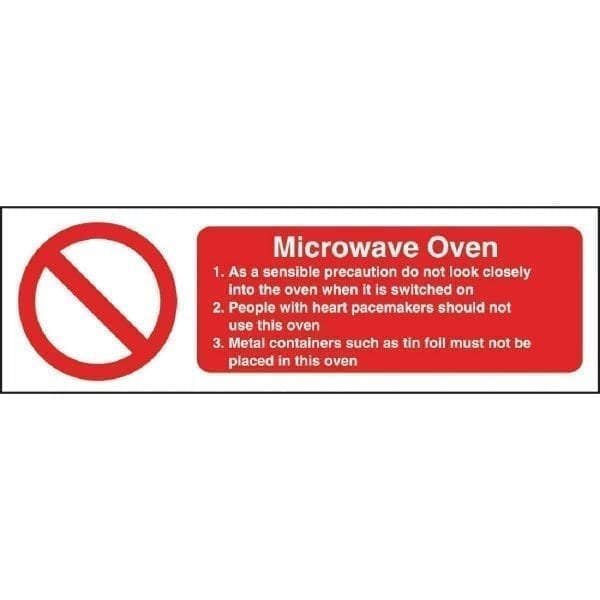 Microwave Safety Sign - 100x300mm (Self Adhesive)-0