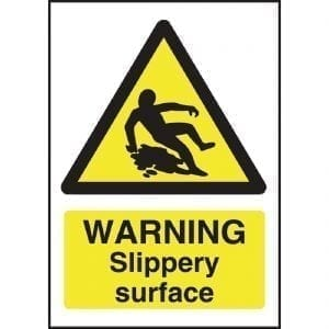 Warning Slippery Surface Sign - 200x150mm (Self-Adhesive)-0