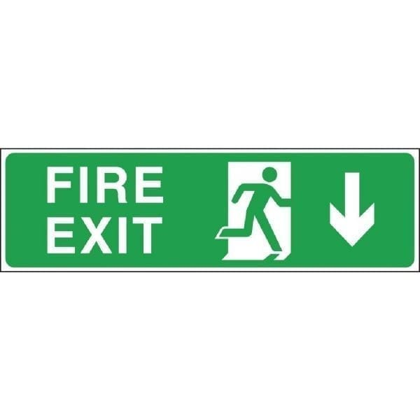 Fire Exit. Through Door. Arrow Down Sign - 150x450mm (Self Adhesive)-0