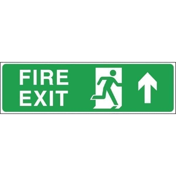 Fire Exit. Straight On. Arrow Up. Sign - 150x450mm (Self-Adhesive)-0