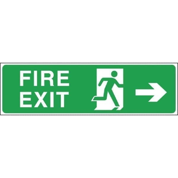 Fire Exit Arrow Right Exit Sign - 150x450mm (Self-Adhesive)-0