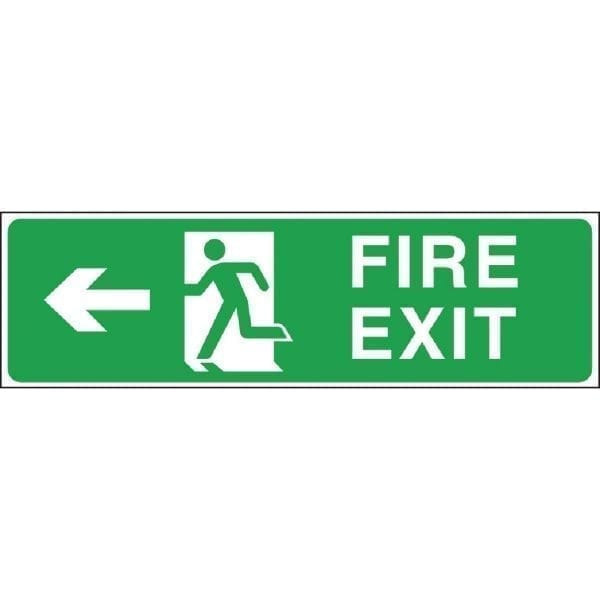 Fire Exit. Arrow Left Exit Sign - 150x450mm (Self-Adhesive)-0