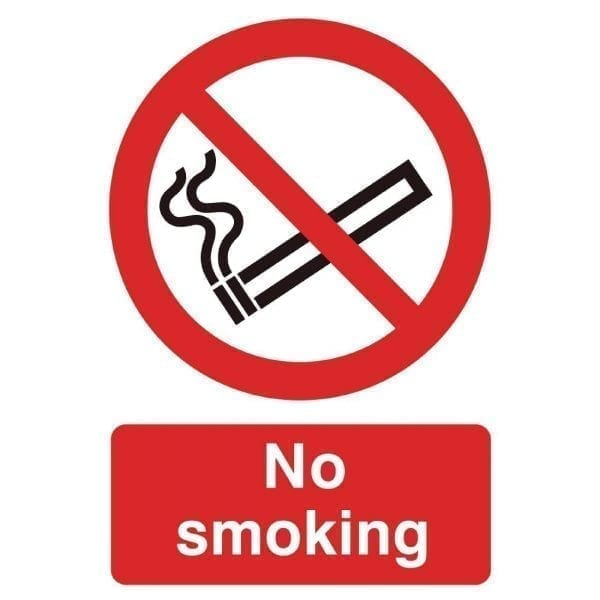No Smoking Sign with Symbol - 200x150mm (Rigid)-0