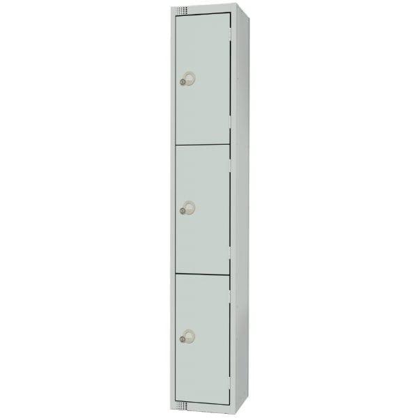 300mm Deep Locker 3 Door Camlock Mid Grey with Sloping Top (Direct)-0