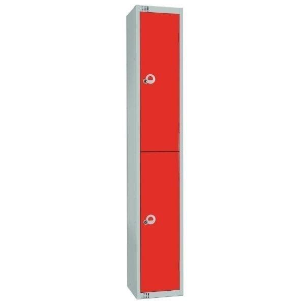 300mm Deep Locker 2 Door Padlock Red - 1800x300x300mm (Direct)-0