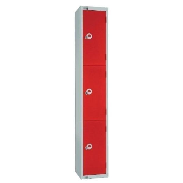 300mm Deep Locker 3 Door Camlock Red with Sloping Top (Direct)-0