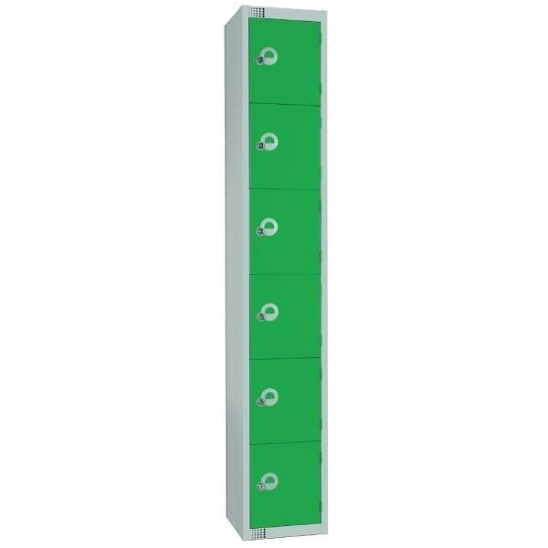 300mm Deep Locker 6 Door Padlock Green with Sloping Top (Direct)-0