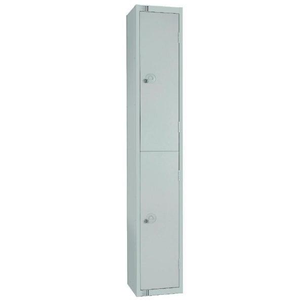 450mm Deep Locker 2 Door Camlock Mid Grey with Sloping Top (Direct)-0
