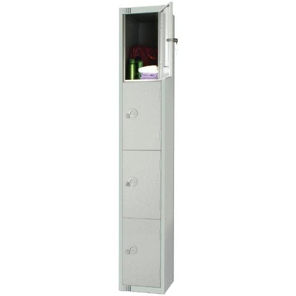 450mm Deep Locker 4 Door Camlock Mid Grey with Sloping Top (Direct)-0