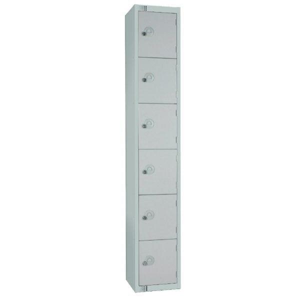 450mm Deep Locker 6 Door Padlock Mid Grey with Sloping Top (Direct)-0