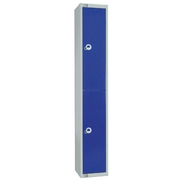 450mm Deep Locker 2 Door Padlock Blue with Sloping Top (Direct)-0