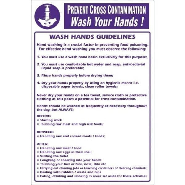 Prevent Cross Contamination Wash Hands (Self-Adhesive)-0