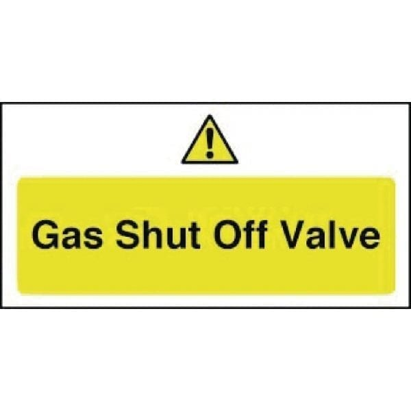 Gas Shut Off Valve Sign - 100x200mm (Self-Adhesive)-0