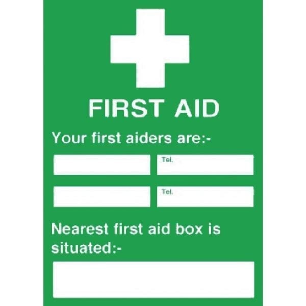 First Aiders/Nearest First Aid Box Is - 300x200mm (Self-Adhesive)-0