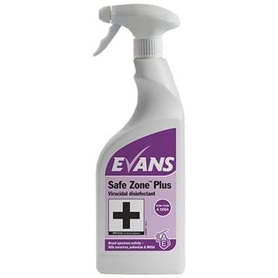 Evans - SAFE ZONE PLUS Virucidal Disinfectant Cleaner - 6 x 750ml