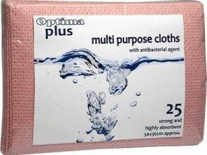 Optima Plus Antibacterial Cloths Red - 25 Pack-0