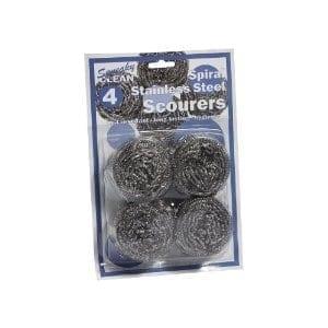 Spiral Stainless Steel Scourer - 10 x 4 Pack-0