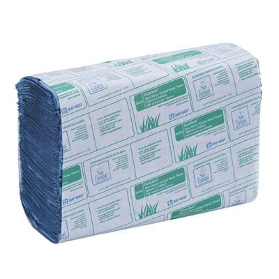 Bay West DublSoft Micro Folded Paper Towels 1ply - Blue - Box 3000