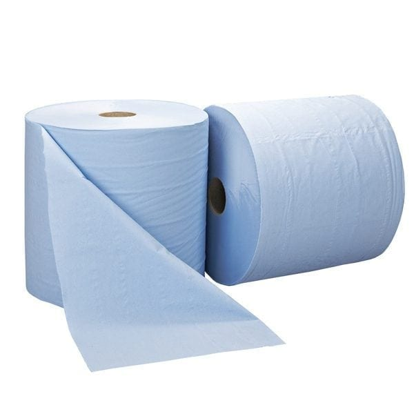 Forecourt Wiper Rolls 2ply Blue - 1000 Sheet - 2 Pack