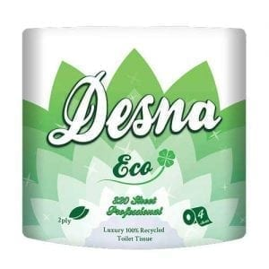 320 Sheet Toilet Rolls - 2ply White - 36 Pack Desna Eco