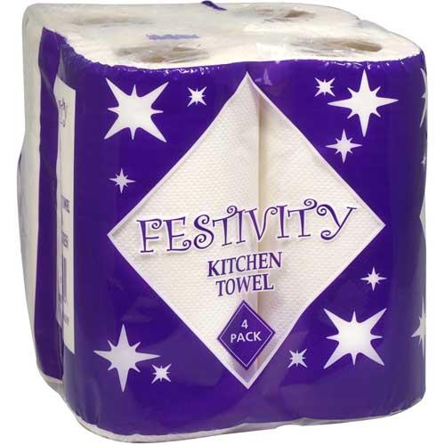 festivity kitchen rolls 2ply white 6 x 4 pack