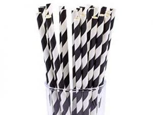 paper straws black and white 8 inch