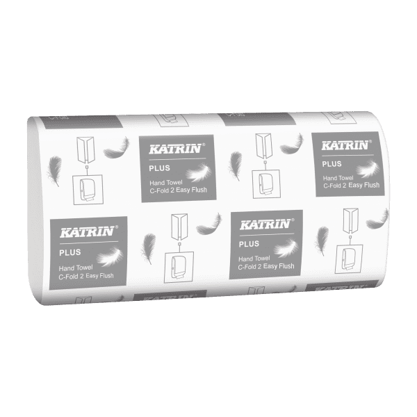 Katrin Plus C-Fold 2Ply White Paper Towels - Box 2250 1